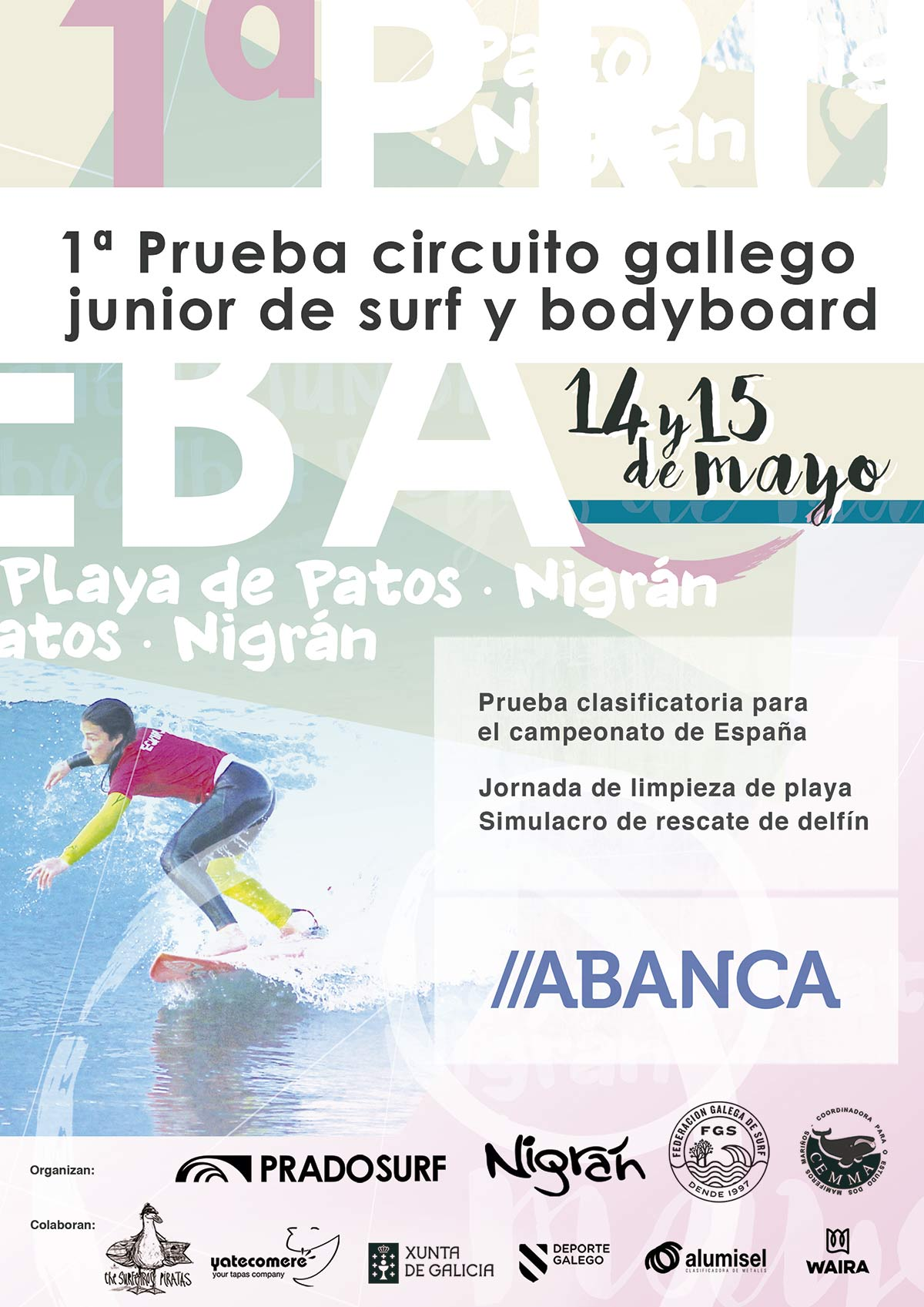 Póster prueba circuito gallego junior de surf